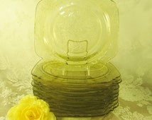 Madrid Depression Glass Square Plates, Federal Glass SALAD Plates, yellow etched 1930s glass plates, Amber glass plates, SOLD individually,