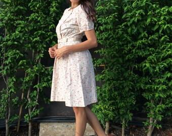 1940s dress, 1050s dress, vintage dress, floral dress, day dress, sun dres, summer dress
