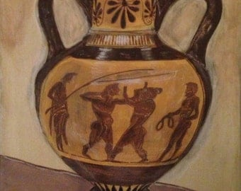 "Greek amphora: ""Black-figure pottery painting"". By MZ."