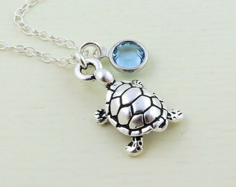 Silver Tortoise Necklace, Tiny Tortoise Charm, Tortoise Jewelry, Turtle Necklace, Pet Necklace, Birthstone Necklace, Turtle Charm Necklace