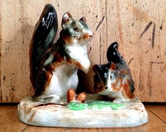 Squirrel figurine made in Japan, squirrel ornament