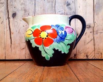 "British Anchor ""Roseate"" Old English Handcraft England Art Deco Jug, antique pitcher"