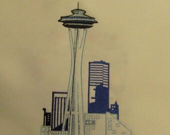 Machine embroidered Seattle  skyline