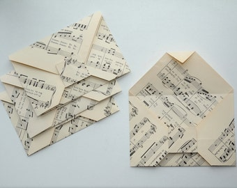 Four origami envelopes - Musical scores - Paper folded without using glue - Recycling - Upcycling - Handmade in Iceland