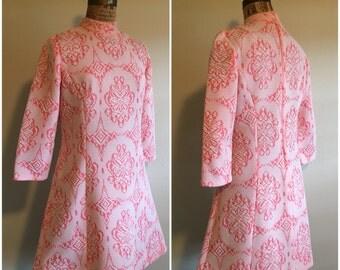 Vintage 60s Mod Mini Dress | Orange Sherbet | Damask | 3/4 Sleeves
