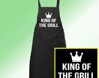 King of the Grill --FREE SHIPPING-- Funny Parody Dad BBQ Gift White on Black for Cooking and Kitchen