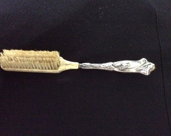 Antique French Mustache Brush, Sterling, Bone and Natural Bristles , Marked, Great Gift!