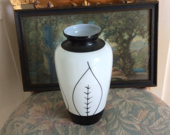 "SALE REDUCED!  Art Deco Opaque Vase, Handpainted, 8 1/2"""