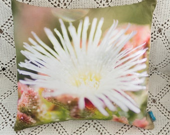 Decorative pillow with a photo design - Succulent flower - Removable pillow cover (insert not included)