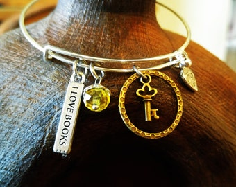 Key Bangle Bracelet, Charm Bracelet