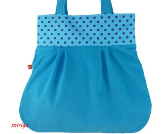 Shoulder bag turquoise with blue dots