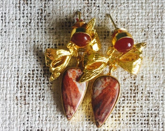 bow drop crazy lace agate earrings