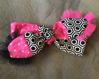 Pink polka dot/black and white with tulle tie up headband