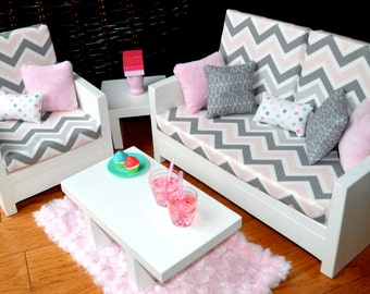 """American Girl and other 18"""" Doll Furniture.Living Rm - Olivia Set"""