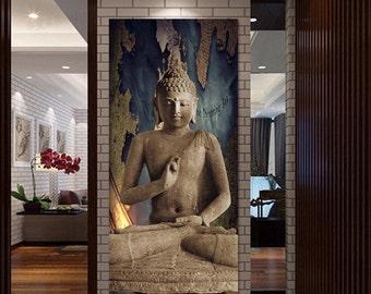 Huge Meditating Buddha Mural