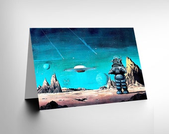 New Robby Robot Forbidden Planet Space Stars Sci Fi Blank Greetings Card CL1117