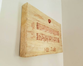 Music Bespoke Copper Wall Hanging; Sheet Music, 1st Music, 7th Wedding Anniversary, Copper Anniversary Gift, Copper Picture, Valentine