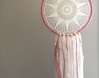 Shabby Chic, Pink, Dusty Rose and Coral Dreamcatcher