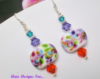 Rainbow Swirled Lampwork Drop Earrings in Purple,Teal,White,Pink & Orange