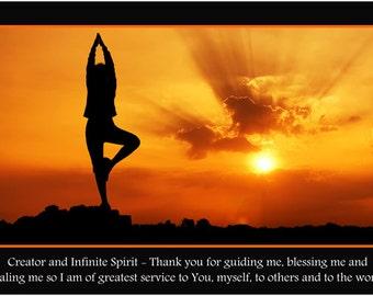 Tree Pose Spiritual Sun Inspirational Poster 24x36 Yoga Prayer Healing