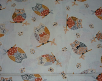 Cotton cute colorful owls orange white