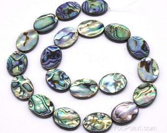 Abalone paua shell, 15x20mm flat oval shell beads, genuine loose abalone strand, multicolor paua beads jewelry making, ABA1052