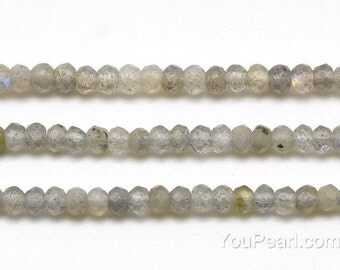 Labradorite beads, 3x4mm roundel faceted, A grade flash labradorite stone, gemstone beads strands, genuine loose grey stone beads, LBD1110