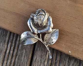 Vintage Silver English Rose Brooch