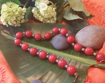 Coral Bead and Silver Bead Necklace