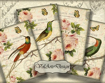 Birds and flowers - digital collage sheet - printable download - gift tags - set of 8