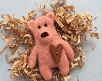 Needle felted bear brooch from wool