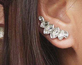 10% off - Dazzling ear climbers | ear climber earrings | ear crawler earrings | ear crawlers | ear pins | ear sweeps