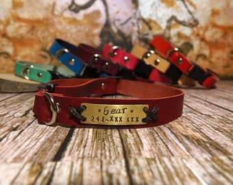 Soft Leather Cat collar, Cat Collar, Thin Leather Collar, Personalized Collar, Cat Id Tag, Cat Collar Leather, Cat Gift, Pet Gift, Cat Lover