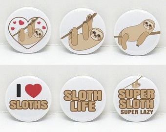 "Sloth Love Set of 6 | 1"" pinback button 