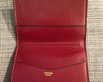 HERMES - Door agenda leather Burgundy 60s/70s Vintage