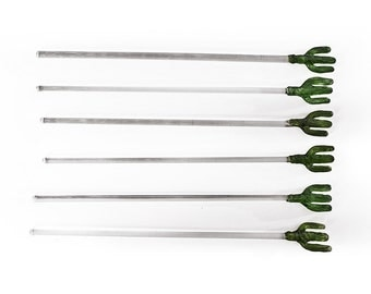 Set of 6 Cactus Glass Swizzle Sticks