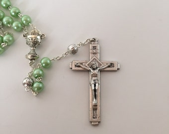 First Communion Pear Green Pearl Rosary