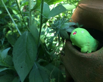 Queasipede Larvae, Green and Yellow creepy caterpillar, Homemade polymerclay creature
