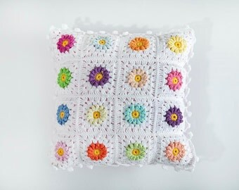 Colorful cushion, Granny square pillows, Pillow 12x12, Crochet colorful pillow, Granny square pillows, Crochet afgan pillow