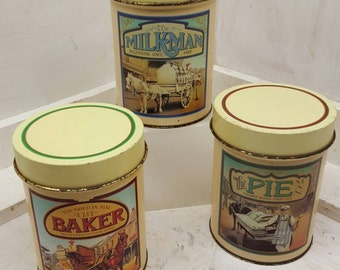 Vintage Kitchen Tins Baker Milkman and Pie Decor