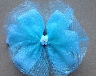 Blue Tutu Hair Bow