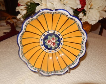 """Vintage Cup antique faiencerie of Angoulême """"art deco""""french blue yellow handmade flower decor"""