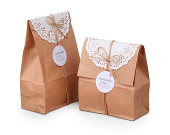 20 Plain Kraft paper bags, paper bags, paper gift bags, paper sandwich bags, kraft bags,