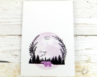 A6 Pocket Notebook Woodland Bear Recycled Paper Notepad