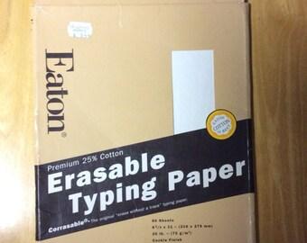 Vintage Typewriter Paper, Erasable Typewriter Paper, Eaton Typewriter Paper