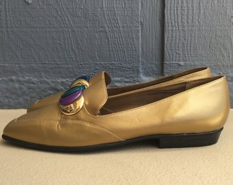 Vintage 80's Women's Gold Leather Statement Flats with Rainbow Color Band Size 8.5