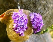 Flowers earrings Lilac earrings Purple earrings Floral earrings Shades of Purple Earrings Cluster Earrings gift for her Gift for girls