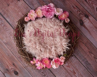 Flower nest newborn digital backdrop