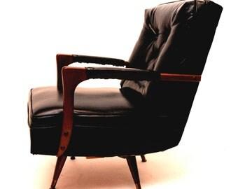 SOLDDONOTBUYSOLDDONOBUYRare Mid Century Modern Walnut & Vinyl Lounge Swivel Rocking Chair Vintage Danish MCM - Free Shipping