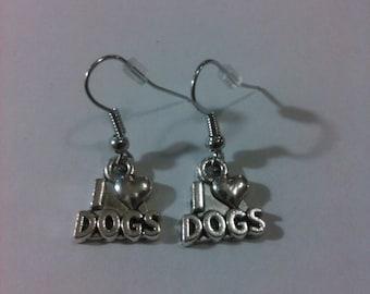 I Love Dogs Dangle Earrings